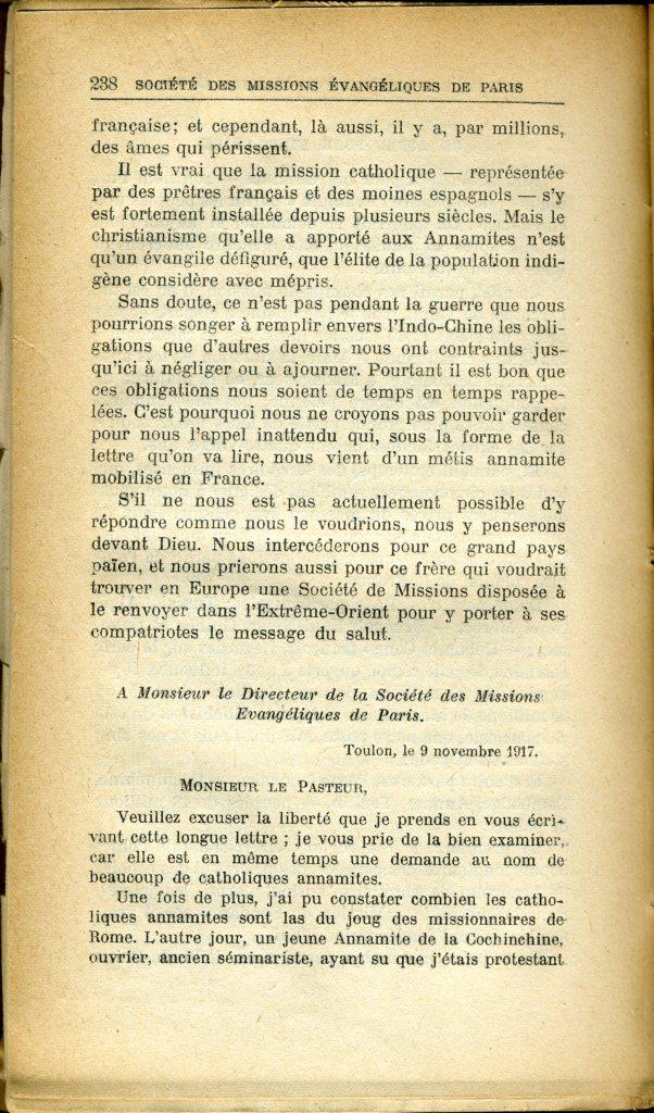 Lettre de Louis Duong à Jean Bianquis, Directeur de la SMEP du 9 novembre 1917 - publiée dans le Journal des Missions