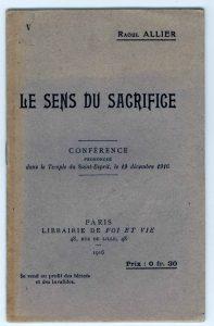 Conférence de Raoul Allier - couverture Le sens du sacrifice, prononcée au Temple du Saint-Esprit à Paris en 1916