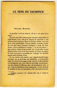 Conférence de Raoul Allier - première page Le Sens du sacrifice, prononcée au Temple du Saint-Esprit à Paris, 1916