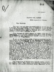 Réponse du pasteur Jean Bianquis à Ernest Mabille Juillet 1917, page 1