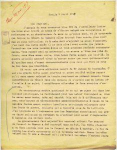 Courrier d'Edouard Jacottet, missionnaire au Lesotho - 9 avril 1917, page 1