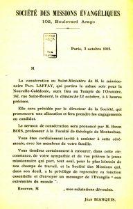 Invitation au culte de consécration au minstère pastoral de Laffay Invitation officielle adressée par le directeur de la Société des missions