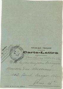 Courrier de Laffay à Jean Bianquis - Marseille - 27 janvier 1915 Laffay vient de débarquer à Marseille. Il ignore encore où il va devoir se rendre