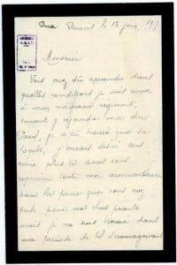 Courrier adressé à Jean Bianquis par le frère de Paul Laffay, Timothée - Monastir, 13 juin 1917 - Poste aux Armées Timothée Laffay, engagé à la suite de son frère dans le 38e régiment d'infanterie coloniale, sera également tué au combat peu après.
