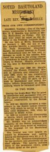 Notice biographique publiée en 1929 dans un journal sud africain lors du décès d'Ernest Mabille