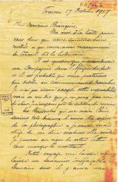Lettre d'Ernest Mabille à Jean Bianquis 17 octobre 1917, page 1