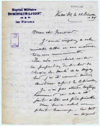 Guy Parson à Jean Bianquis - décembre 1915, page 1 Depuis l'hôpital militaire de Versailles