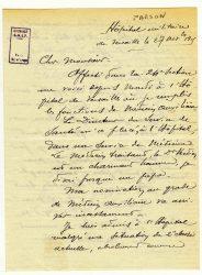 Guy Parson à Jean Bianquis - novembre 1915, page 1 Depuis l'hôpital militaire de Versailles