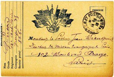 Guy Parson à Jean Bianquis - carte postale, 13 août 1916