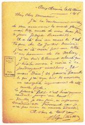 Guy Parson à Jean Bianquis - carte postale, 13 août 1916 Inquiétudes pour Joseph Ranaivo : plus de nouvelles de lui depuis 26 jours !