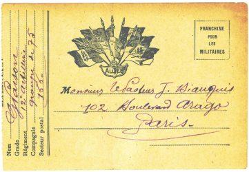 Guy Parson à Jean Bianquis - carte postale, 14 août 1916