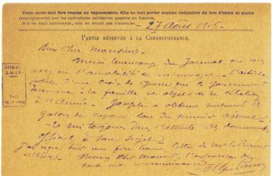 Guy Parson à Jean Bianquis - carte postale, 27 août 1916 Le grade de caporal a été octroyé à Joseph Ranaivo. Il se voit aussi décerné la Croix de Guerre à titre posthume
