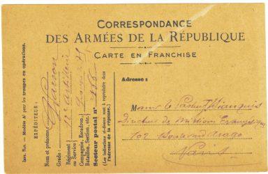 Guy Parson à Jean Bianquis - carte postale, 27 août 1916