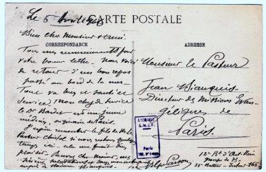 Guy Parson à Jean Bianquis - carte postale, avril 1916