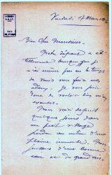 Guy Parson à Jean Bianquis - lettre de mars 1916 - page 1