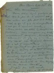 """Guy Parson à Jean Bianquis - carte postale, 10 octobre 1916 """"Nous sommes sous le feu de l'ennemi, au plus fort de la bataille..."""""""