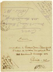 Guy Parson à Jean Bianquis - carte postale, 31 octobre 1916