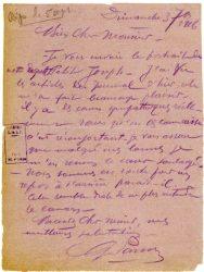 """Guy Parson à Jean Bianquis - carte postale, 3 septembre 1916 Annonce de l'envoi d'un portrait de notre regretté """"petit Joseph"""" """"Nous sommes en route pour un repos à l'arrière. Cela semble drôle de ne plus entendre le canon."""""""