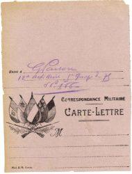 Guy Parson à Jean Bianquis - carte postale, 3 septembre 1916