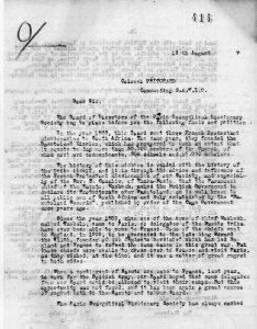Courrier du pasteur Jean Bianquis au Colonel S. A. M. Pritchard commandant le SANLC 13 août - Début des négociations avec les autorités britanniques en France - page 1