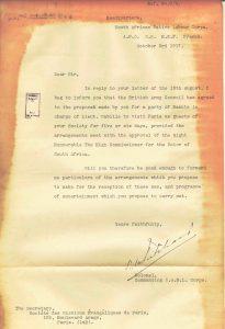 Réponse du Colonel Pritchard au courrier du pasteur Bianquis Octobre 1917