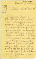 Courrier de Joseph Ranaivo, décembre 1915 - page 1 Dans les tranchées