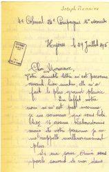 Courrier de Joseph Ranaivo, juillet 1915 - page 1 Hyères, Var